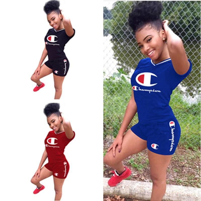 Grosshandel S 3xl Frauen Champions T Shirt Shorts Set Sommer