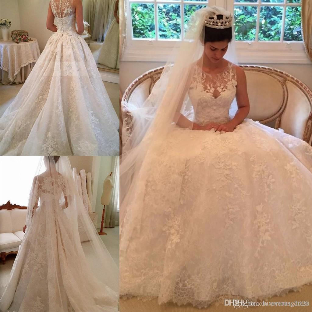 Beautiful Sleeveless Appliques 2019 Wedding Dress Ball Gown Tulle Sleeveless Covered Button Tiered Skirts Sheer Neck Straps Wedding Gowns