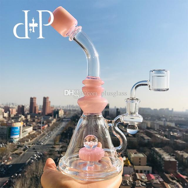 Plus Glass Bong Dab Rig Water Pipe 005BAC Flower Marble unique Peachblow and Clear heady art pipe Showerhead percolator 8.5 Height