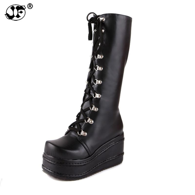 large sizes 34-43 fashion punk cosplay boots woman shoes platform winter party wedge high heels knee-high boots fgb78