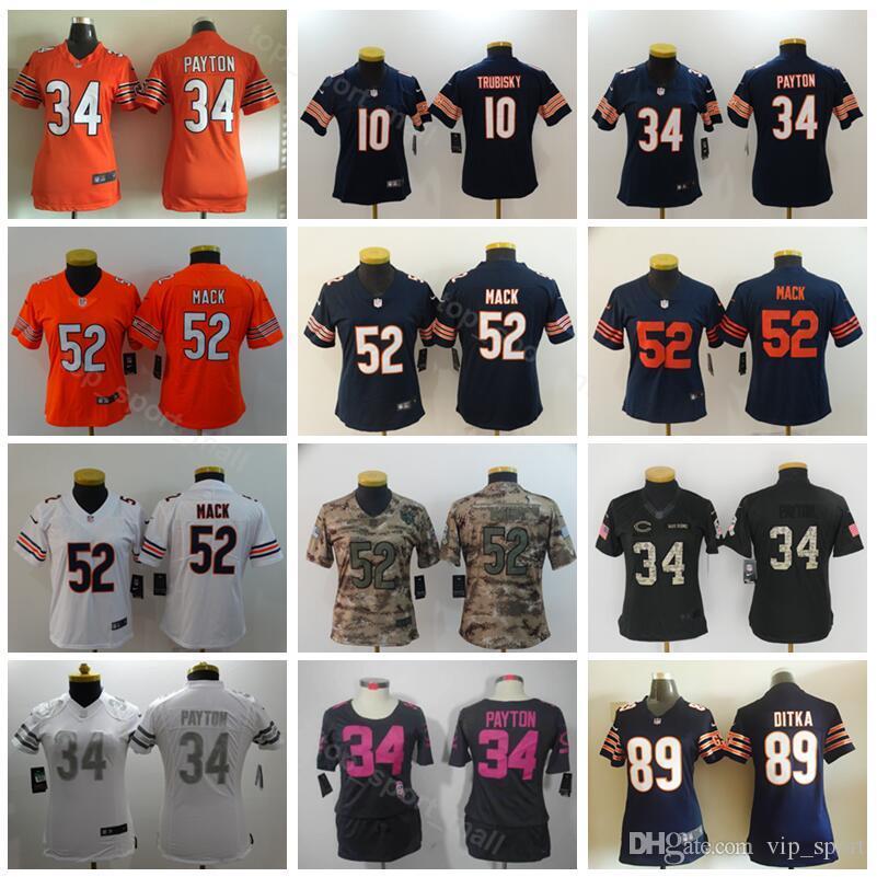 b5a3d485 Chicago Bears Lady Football 10 Mitchell Trubisky Women Jersey 52 Khalil  Mack 34 Walter Payton 89 Mike Ditka Woman Navy Blue Orange White