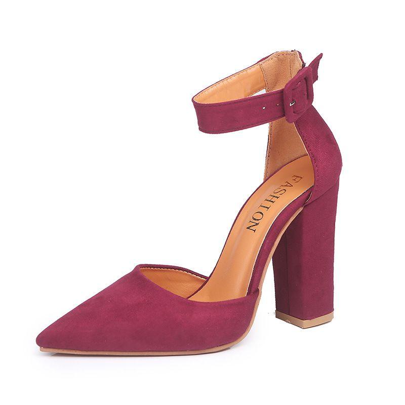 Moda Slip Alta Calidad Girl Boda Bombas On Sandalia Tacones Zapatos Poco Toe Flock Altos Bomba Profunda Lady Mujer 0nOkX8wP