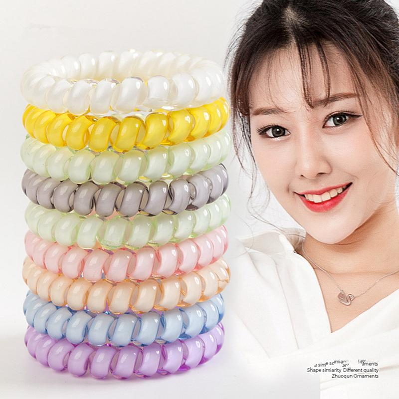 27colors Telephone Wire Cord Gum Hair Tie 6.5cm Girls Elastic Hair Band Ring Rope Candy Color Bracelet Stretchy Scrunchy LJJA2449
