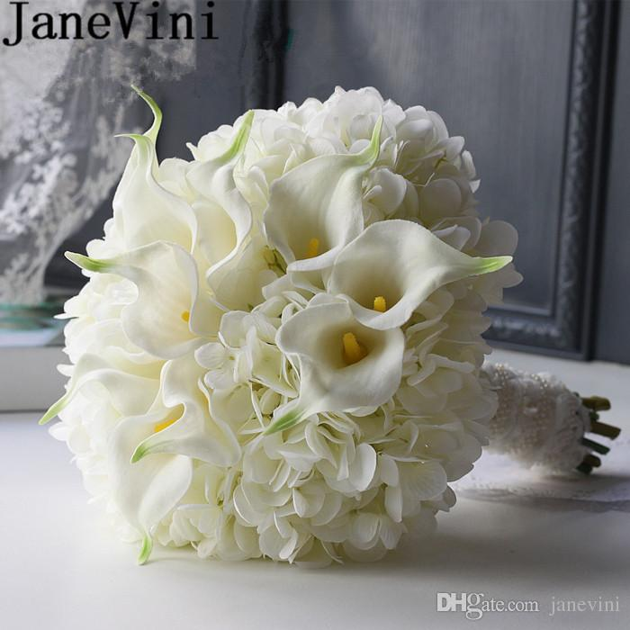 Janevini White Wedding Support Bouquet Artificial Calla Lily Wedding