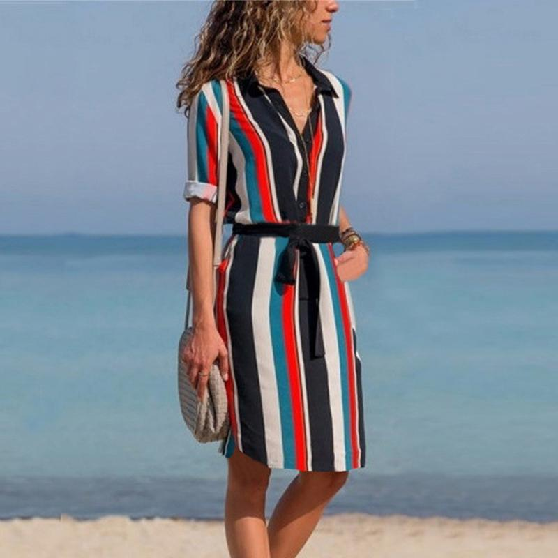 b8e396cb07 2019 DeRuiLaDy Women Summer Striped Shirt Dress Ladies Casual Long Sleeve  Loose Beach Dresses 2018 Autumn Fashion Print Dress Vestido Y190117 From  Jinmei03, ...