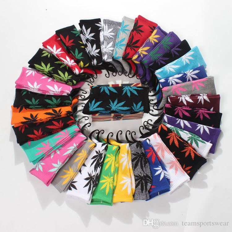45 Colors Cotton Socks For Men Women Skateboard Hiphop Knee High Maple Leaf Leaves Socks Plantlife Sport Socks Stockings