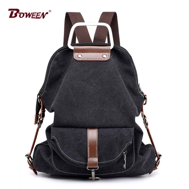 Canvas School Backpack Girls Teenage Schoolbag Fashion Women Shoulder Bag  Vintage Multifunction Back Pack Female Bagpack Backpacks For Teens Cheap  Backpacks ... 35f86118d3
