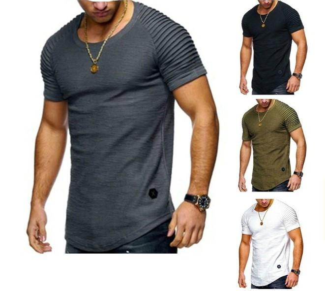 Fashion casual mens tshirt round neck short-sleeved thin section Slim fit Korean version men design t shirt cotton material clothing