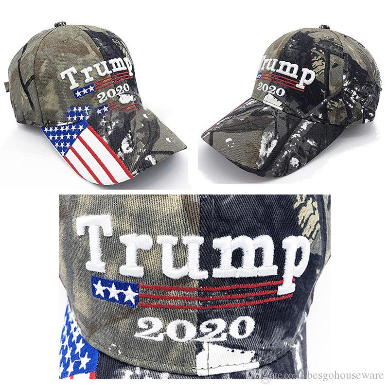 Cotton Embroidery Trump Camouflage Cap American Presidential Baseball Hat Customize Printing Letter Trump 2020 Sports Dome Green Hat BH1752