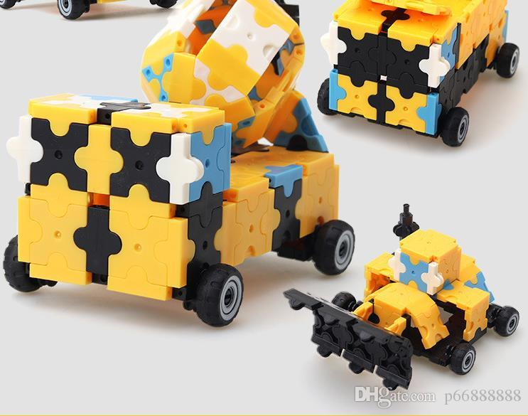 Three-dimensional construction vehicle building blocks for early education of children's intelligence small particles of plastic toys