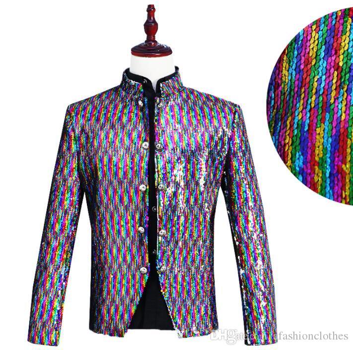 Cheap Sale Turnable Sequin Blazer Men Long Suit Designs Stage Singers Jacket Mens Clothes Dance Star Style Colorful Laser Dress Fashion Suits & Blazers Men's Clothing