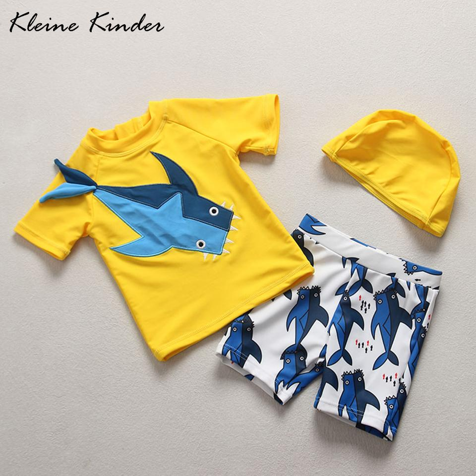 27bcb20852 Boys Swimsuit Cartoon Shark Yellow Kids Swimwear Boy Separate 2 pieces Rash  Guards Children's Swimsuit Beach Baby Bathing Suits