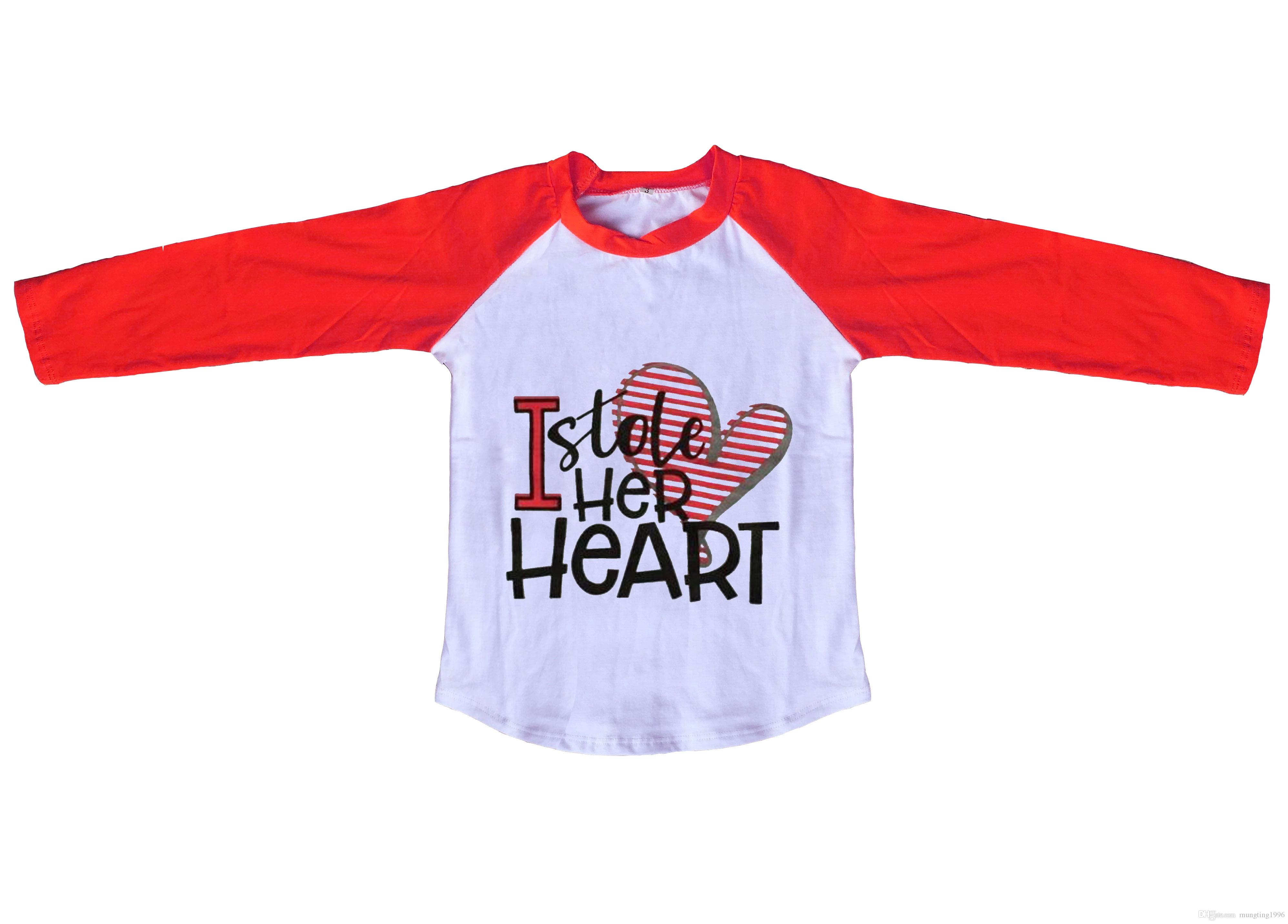 2019 Baby Boys Boutique Raglans Clothing Boys Valentine S Day I Stole Her  Heart Print Top Raglans Long Sleeve Tee From Mungting1996 eb224906f