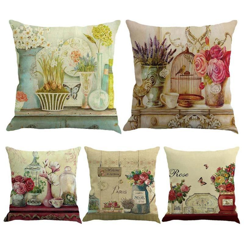 Vintage Linen Pillowcase Cushion Cover Bird Flower Printed Pillow Case For Sofa Car Sear Decorative Throw Cushion Case