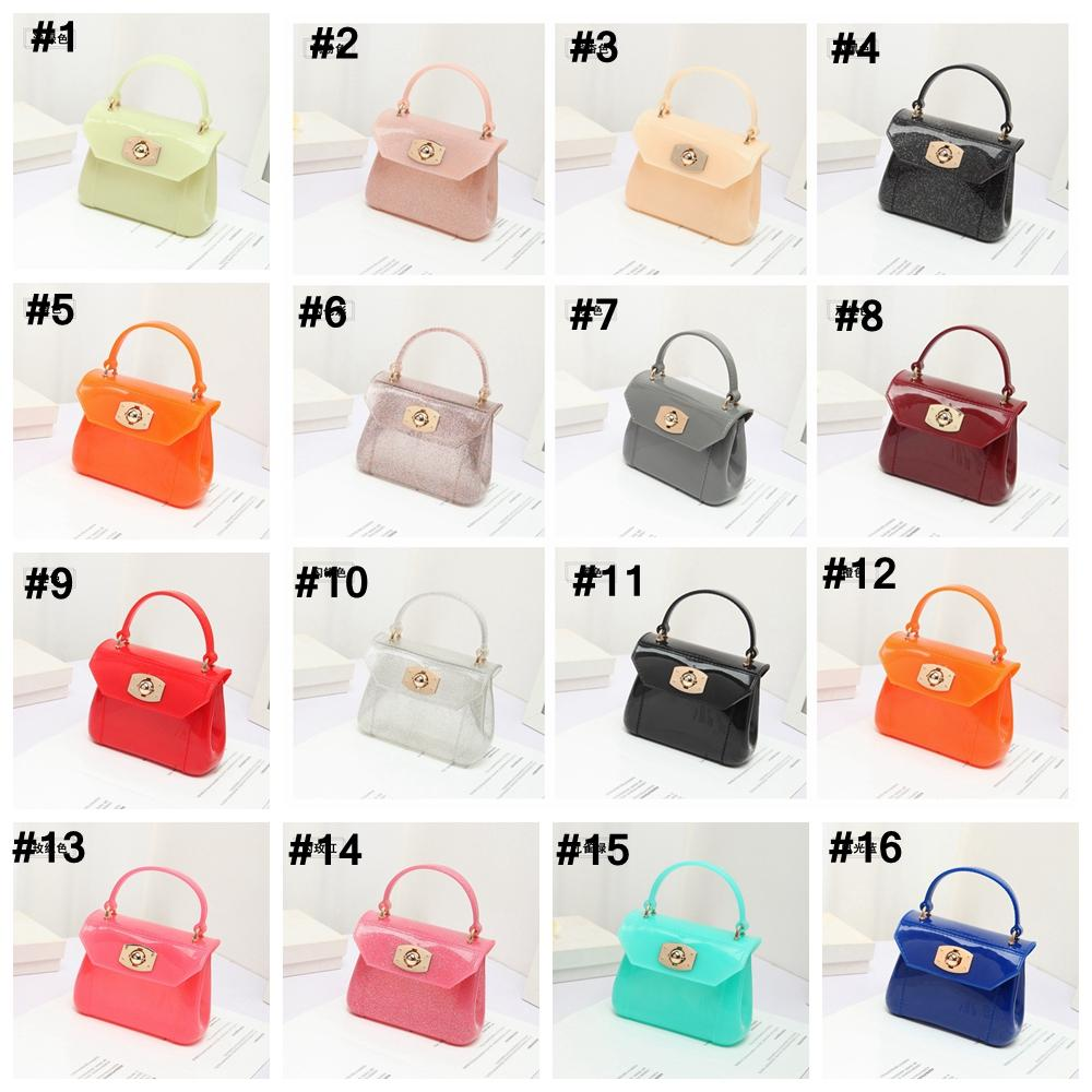 Baby Girls Jelly Handbags 30colors Cute Candy Color glitter PVC Princess  Bags for Kids Korean Children Gel chain single shoulder bag AAA2105
