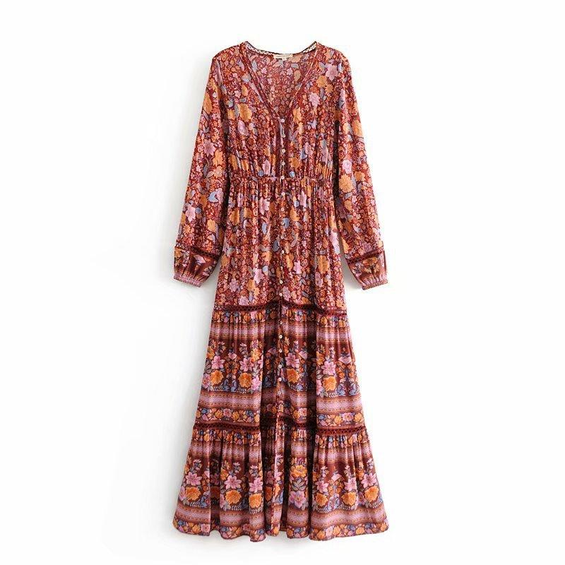 1db24f3ee03 Women Vintage Boho Floral Print Maxi Dress 2019 Spring Long Sleeve Red  Beach Dresses V Neck Hollow Out Summer Robe Femme Sundress Outfits  Sundresses Women ...