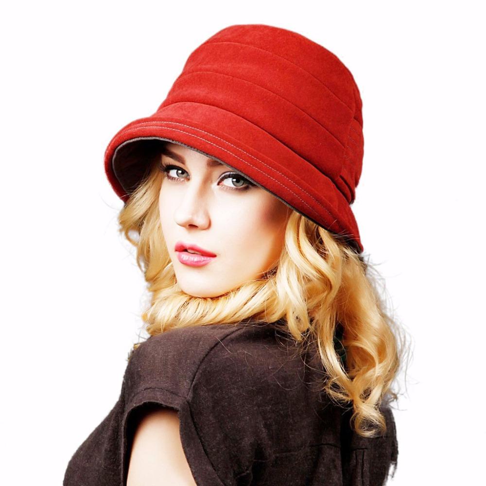 1f92fc9032d Compre Sombreros Fedora De Europa Inglaterra Otoño Invierno Gorros De Mujer  Sombrero Bucket De Mujer Sombrero