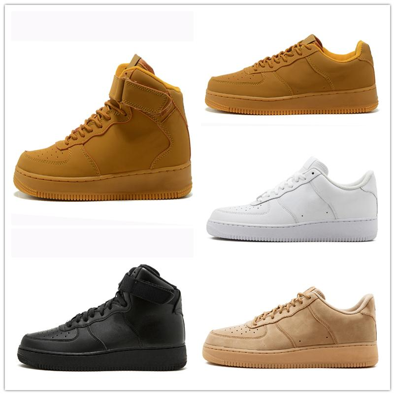 Casual shoes White One 1 Dunk Men Women Casual Shoes Sports Skateboarding Ones Running High Low Cut Wheat Brown Trainers Sneakers 36-45 kj19