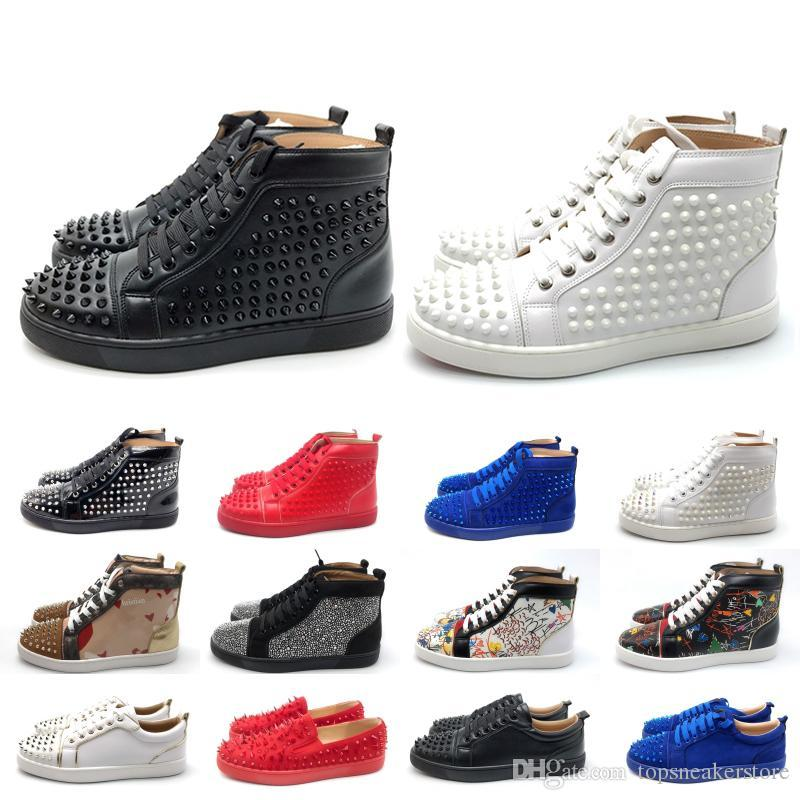 2019 Luxury Designer inferiori rosse Studded Spikes uomini donne scarpe casuali Fashion Insider Sneakers alti stivali neri in pelle rossa Bianco