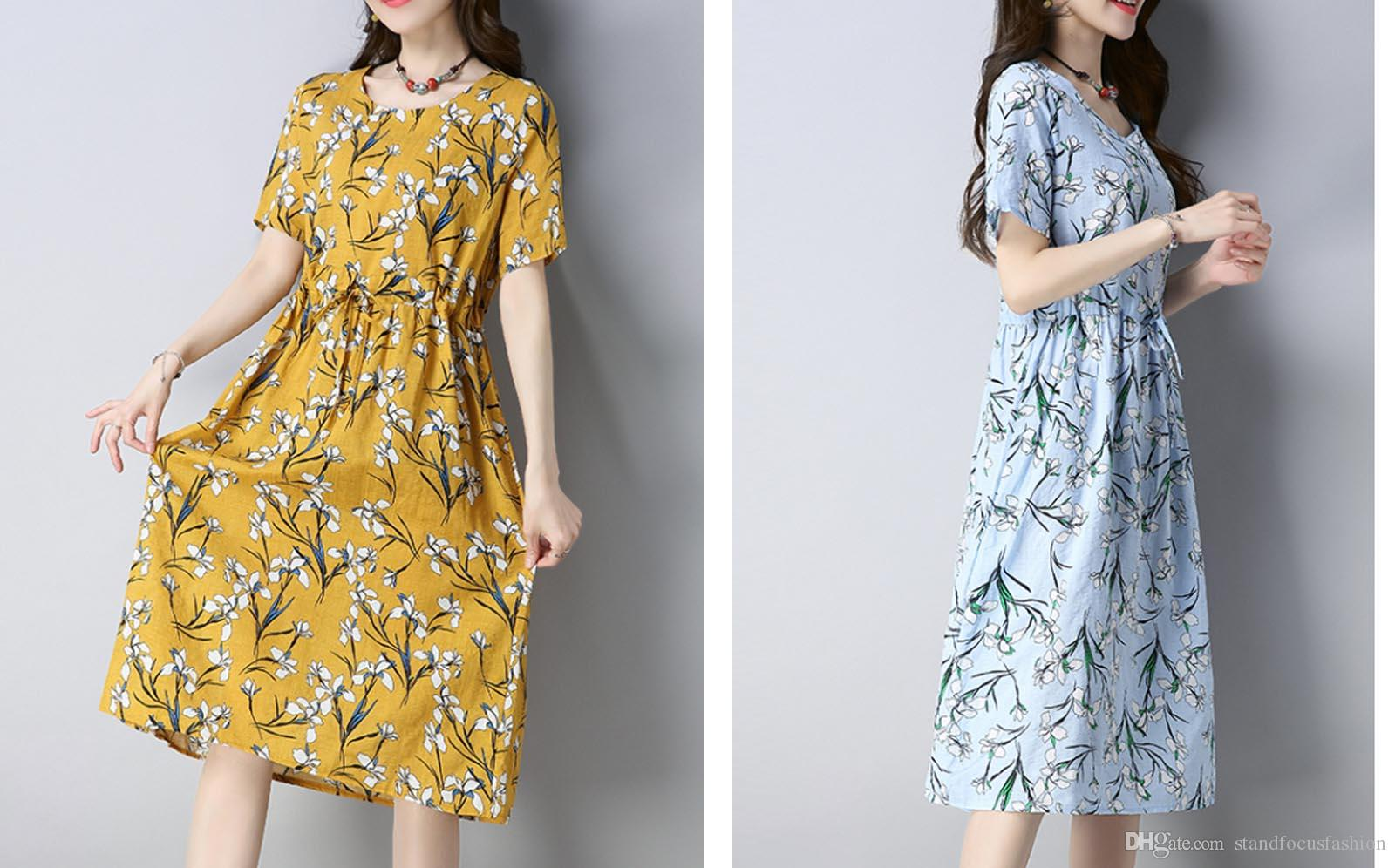 eaa9ad53ea6 2019 Stand Focus Women Ladies Floral Sundress Midi Dress Short Sleeve Loose  Long Mid Calf Tie Waist Light Blue Spring Summer From Standfocusfashion