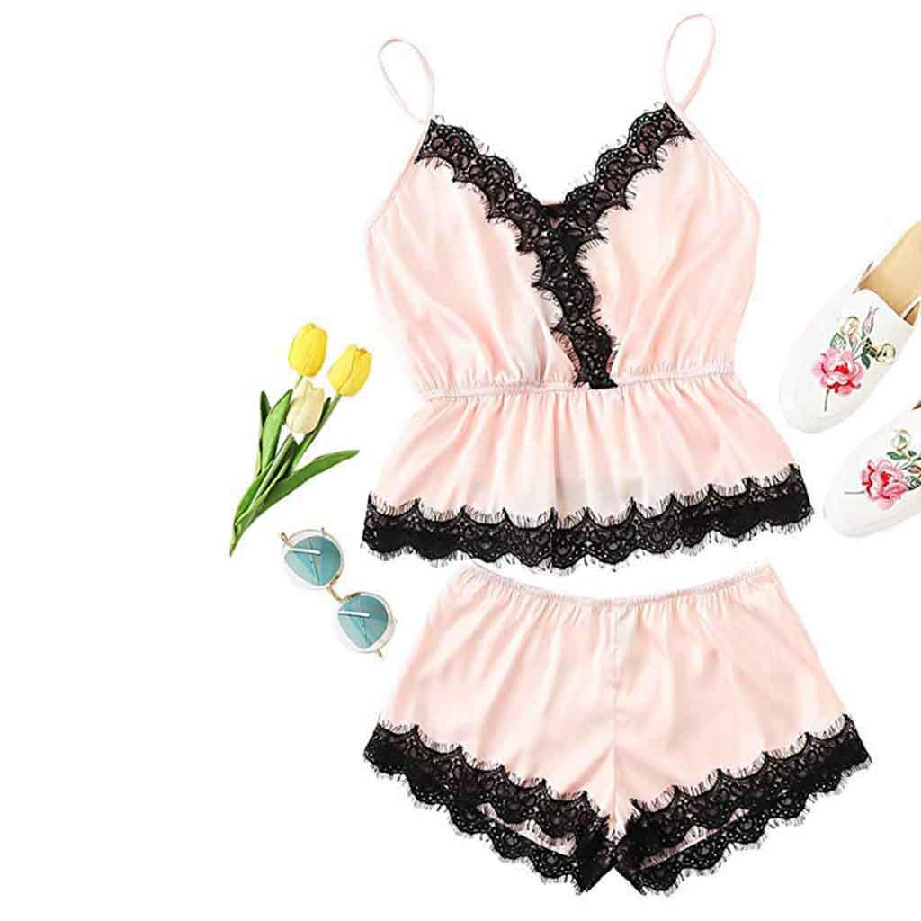 e1e3f1c628 2019 Women Pajamas Set Shein Color Block Scalloped Eyelashes Lace Spaghetti  Strap Crop Top And Short Set Pajamas For Women From Industrial, $36.31 |  DHgate.