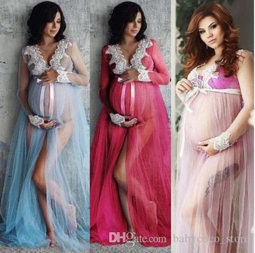 11bf9608726c7 Hot Pregnant Women Front Split Lace Maxi Long Sleeve Dress Maternity Gown  Photography Props Photo Shoot Costume Clothing UK 2019 From Babycoco_store,  ...