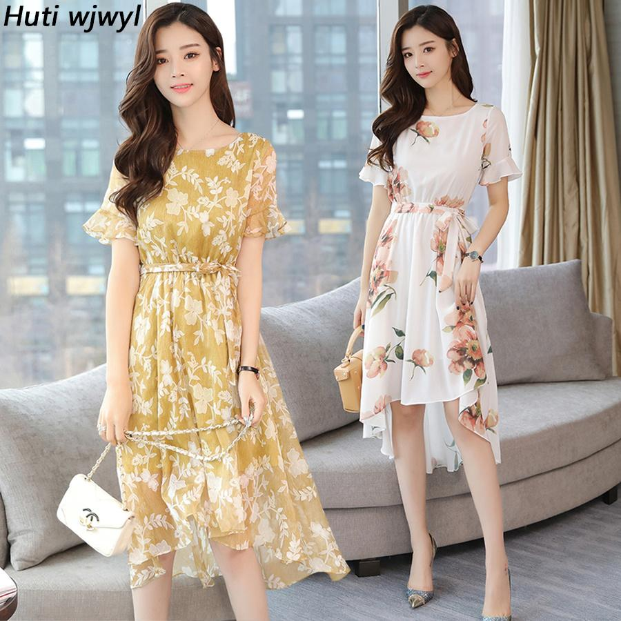 c84e0382cddfc 2019 Vintage Plus Size Beach Midi Dresses Summer Korean Floral Chiffon Boho  Maxi Sundress Women Bodycon Party Elegant Vestidos