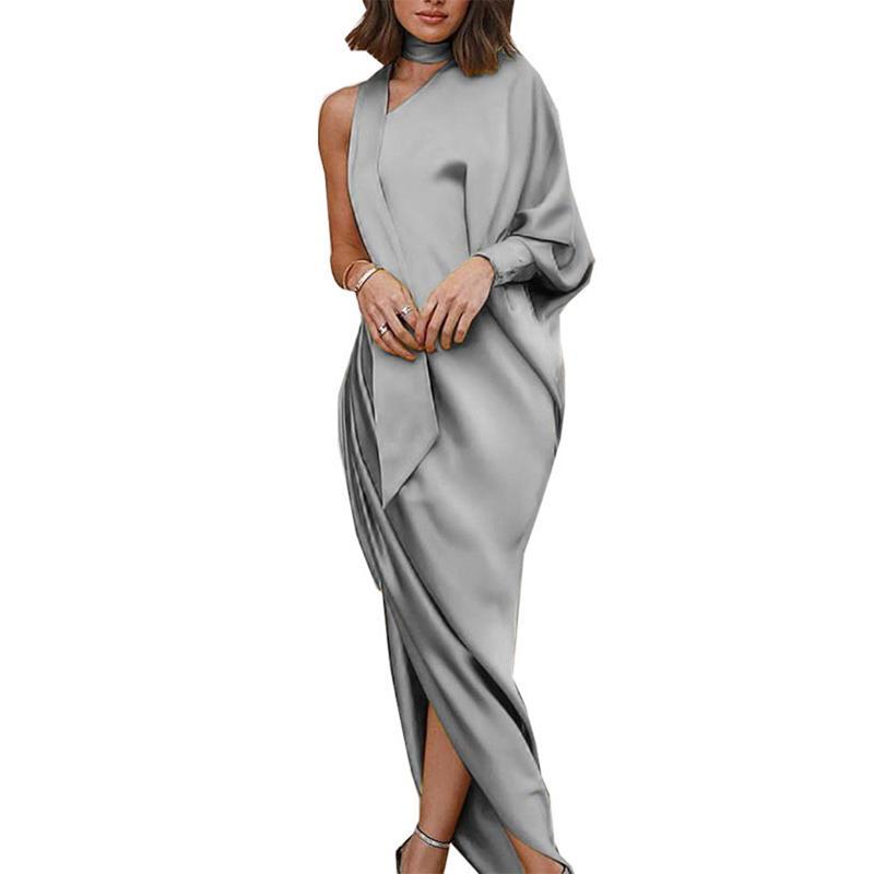 d4a973741b Compre 2019 Mujeres Del Otoño Vestido Largo Maxi Vintage Partido De La  Tarde Dividida Sólido Un Hombro Manga Larga Nueva Moda Tobillo Vestidos  Largos A ...