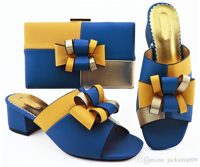 f28ef7a45 Compre El Popular Conjunto De Bolsos De Color Azul Real De Lady Pompers Con  Zapatos Estilo Bowtie Africanos Y Un Bolso Para El Vestido MM1086, ...