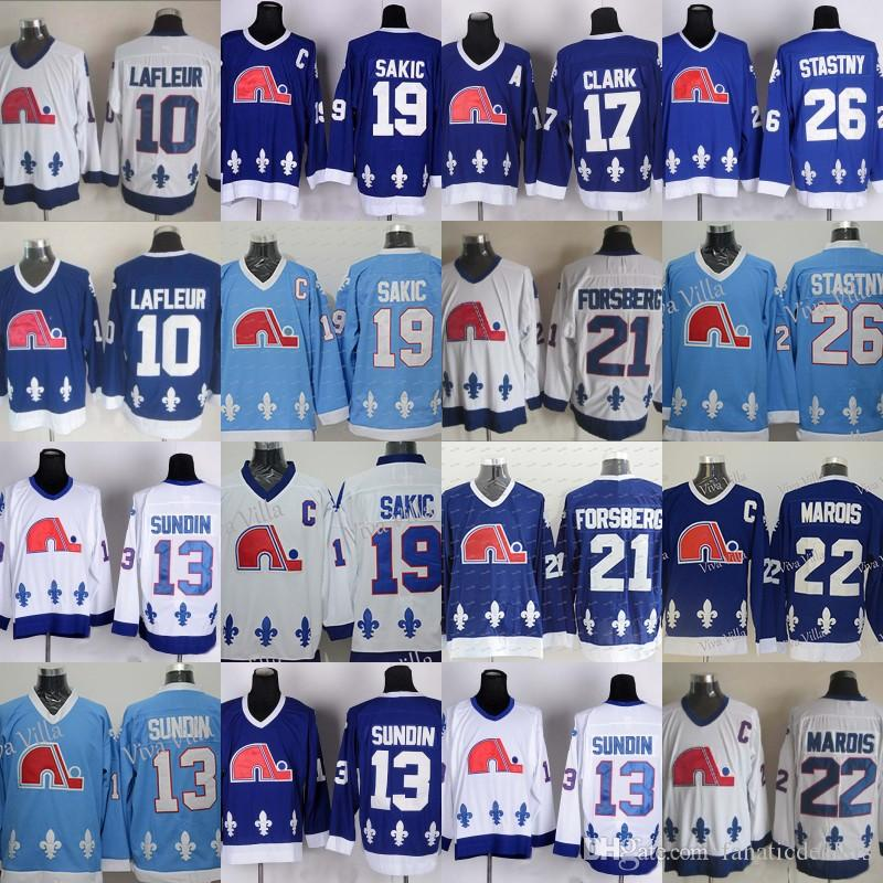 366dfc4f8 2019 Cord Quebec Nordiques 13 Mats Sundin 21 Peter Forsberg 26 Peter  Stastny 19 Joe Sakic 22 Marois Stitched Men Hockey Jersey From  Fanaticdealers