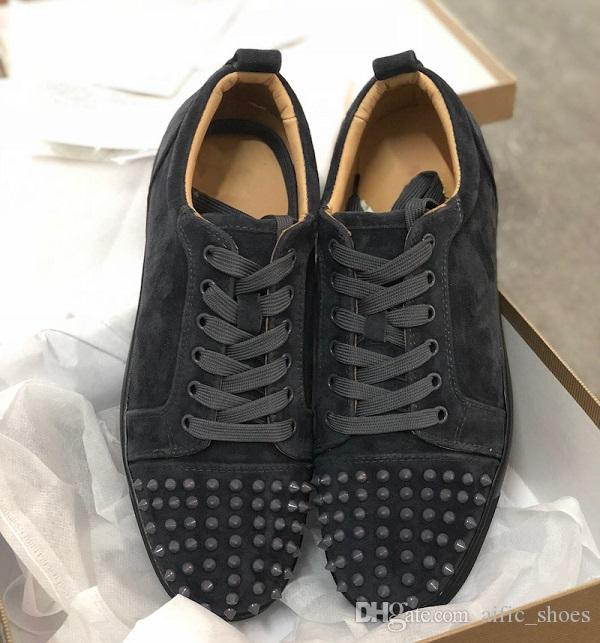 bcf1dc88850b Luxury Sneaker Studded Spikes Men Trainers Red Bottom Shoes Top Quality  GREY Designer Brand Flats 100% Genuine Leather For US 5 12 With Box Mens  Shoes ...