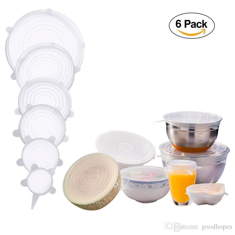 6Pcs Set Silicone Stretch Lids Suction Pot Cover Reusable Durable Food  Grade Fresh Keeping Wrap Seal Lid Pan Cover Various Sizes