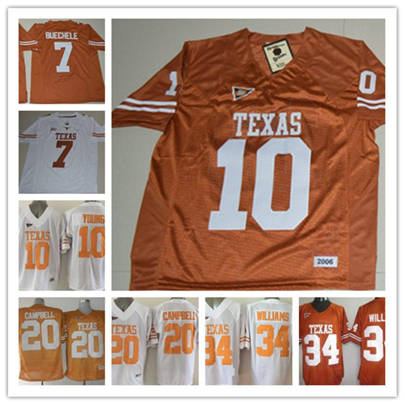 factory authentic 397fe 51c92 Men Texas Longhorns Shane Buechele College Jerseys NCAA #10 Vince Young #20  Earl Campbell #34 Ricky Williams Jersey S-3XL