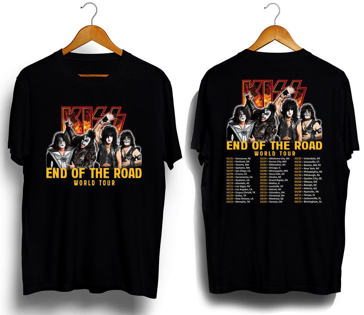 Summer Hot Sale Kiss Band End Of The Road Tour 2019 T Shirt Casual T