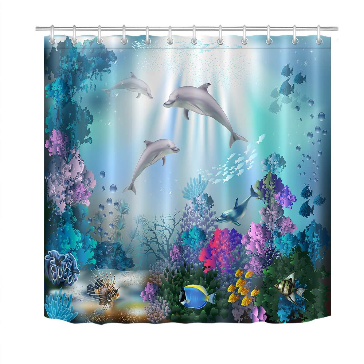 Bath Shower Curtains Kid Bathtub Decor Blue Ocean Undersea