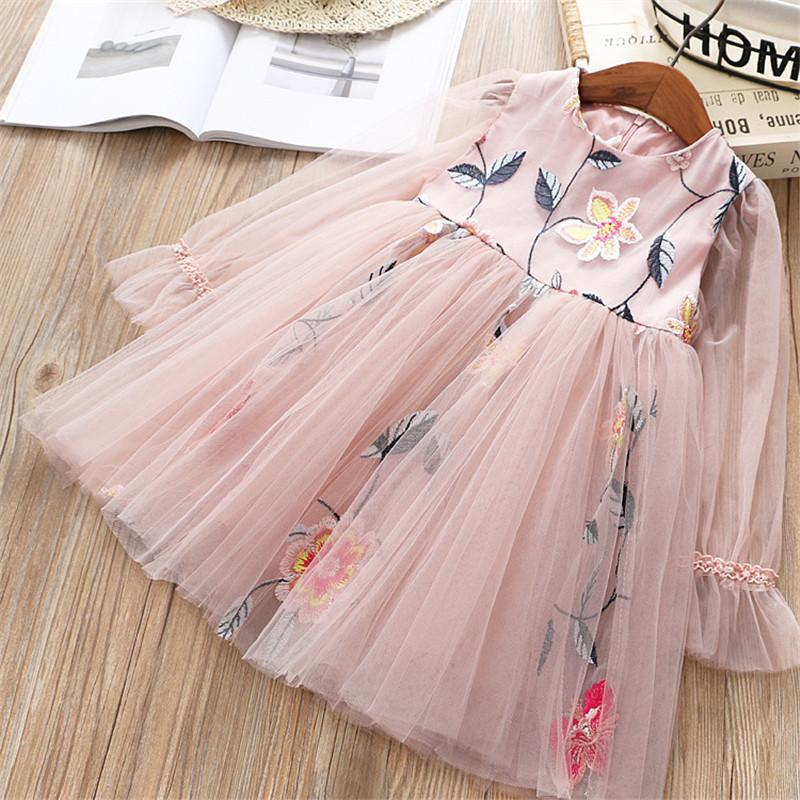 0-6 years High quality girl dress 2019 spring new fashion casual lace Chiffon flower kid children clothing girl princess dress