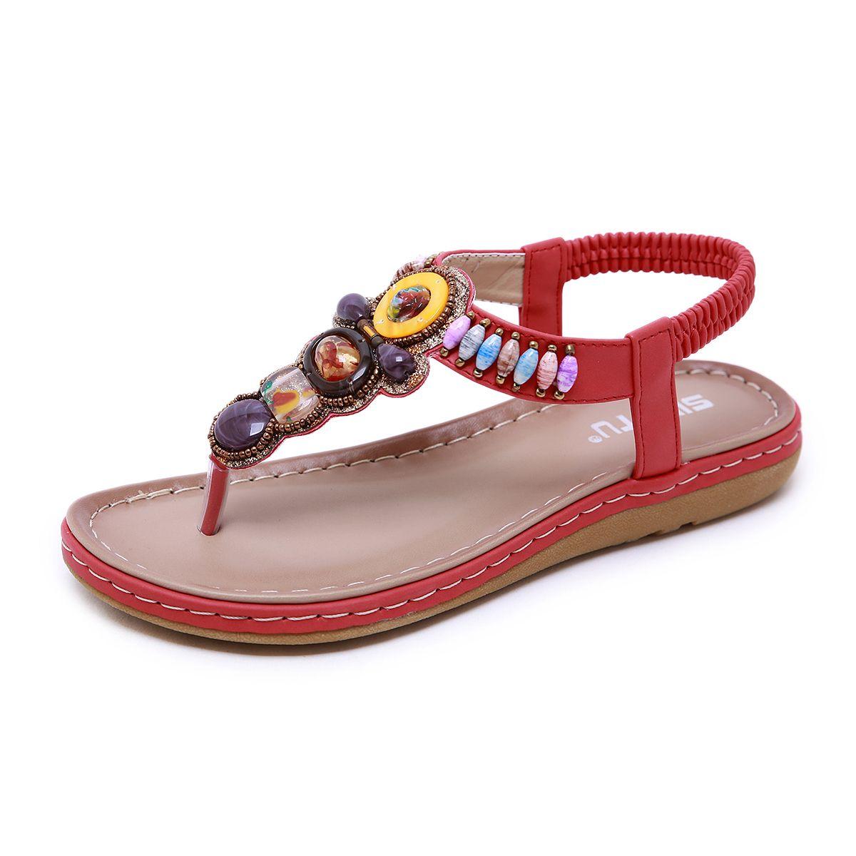 132aa5aff59f Gladiator Sandals For Ladies Bohemia Beaded Thong Sandal Women ...