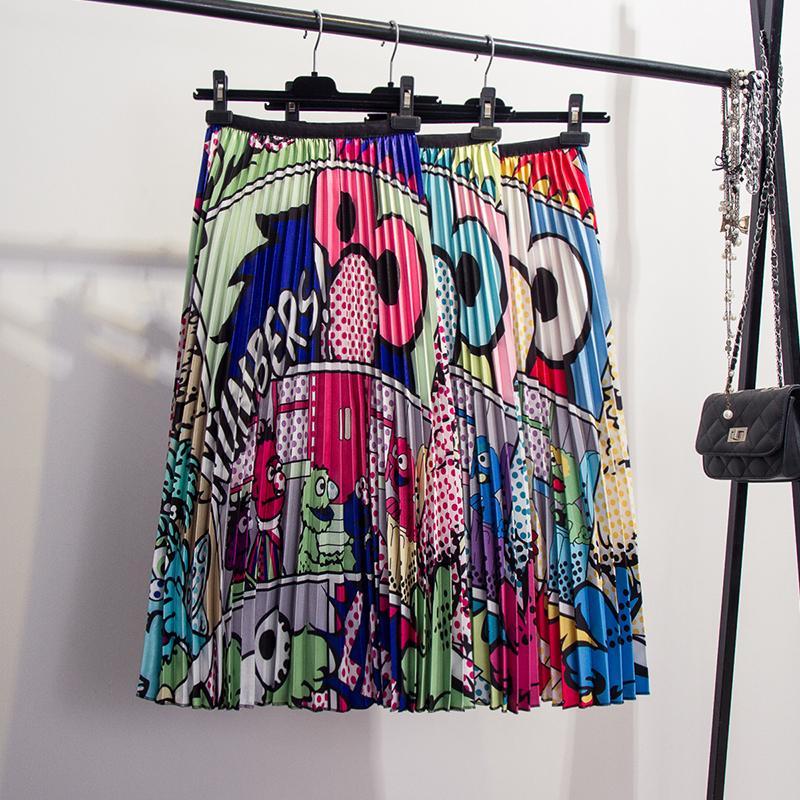 Hosen 2019new Frühling Sommer Neue-kommende Europen Druck Patchwork Muster Hohe Elastizität Plissee High Street Stil Frauen Röcke