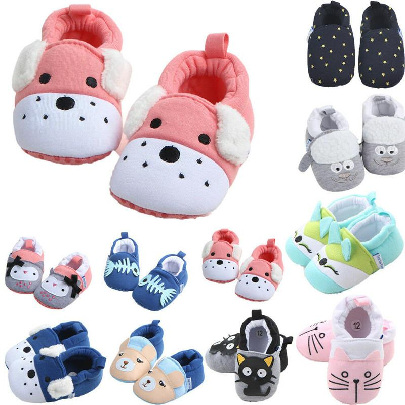 2019 Cute Toddler Newborn Baby Boys Girls Animal Crib Shoes Infant Cartoon Soft Sole Non-slip Warm Baby