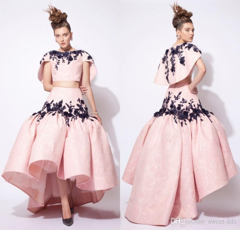 2019 Ashi Studio Blush Pink Evening Dresses Two Piece Hi-low Ruffles Dresses Evening Wear with Wrap Black Appliques Prom Robe De Soiree