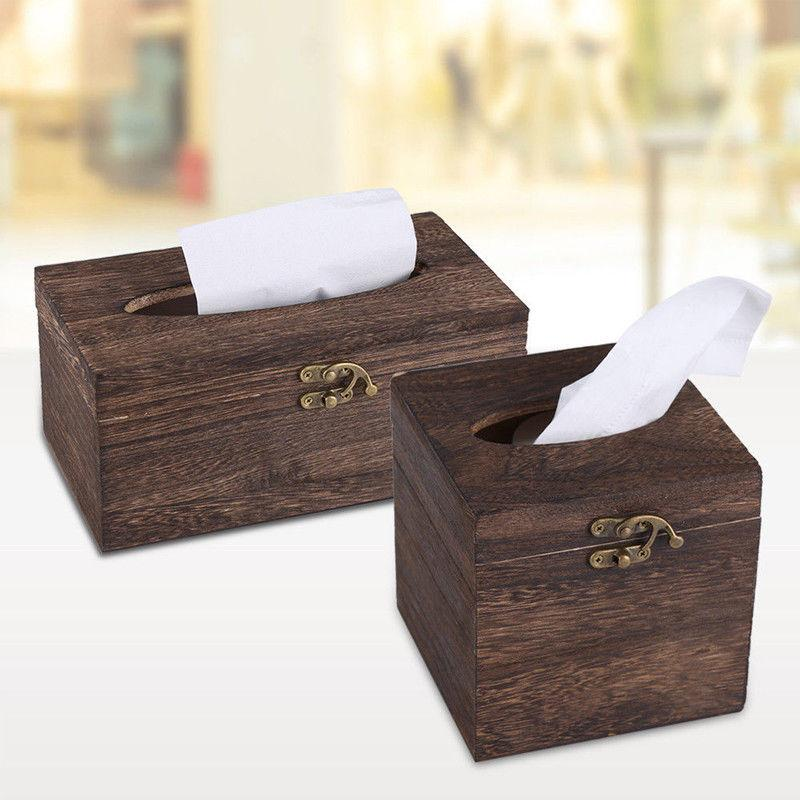 Durable Bar Restaurant Burned Wooden Tissue Box Drawer Toilet Car Paper Cover Chinese Beautiful Napkin Holder Case Home