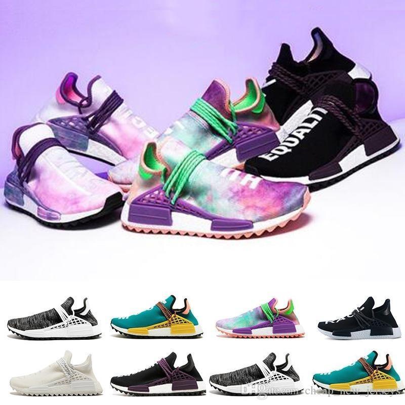 fc44a64b9 New Human Race Running Shoes Pharrell Williams Hu Trail Cream Core Black  Nerd Equality Holi Nobel Ink Trainers Mens Women Sports Sneakers Men Shoes  Online ...