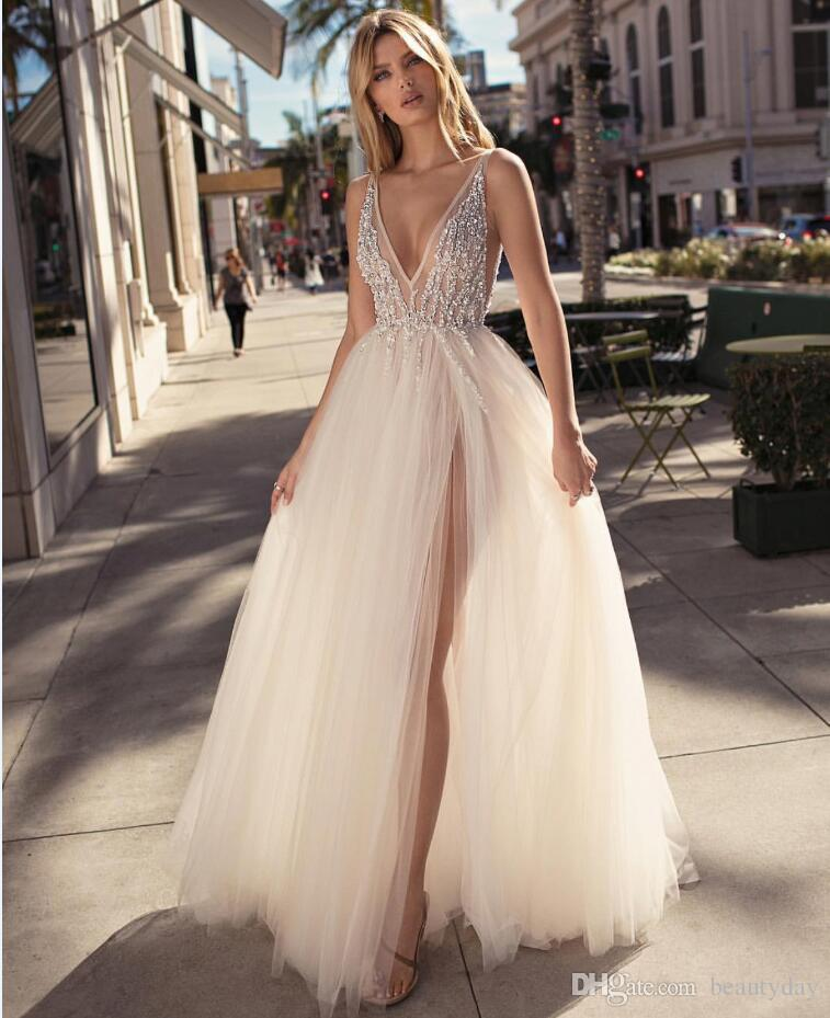 2019 Beach Wedding Dresses For Bride Beach A-line Wedding Dress Split Maternity Pregnant Bridal Gowns V-Neck Beads Tulle Backless