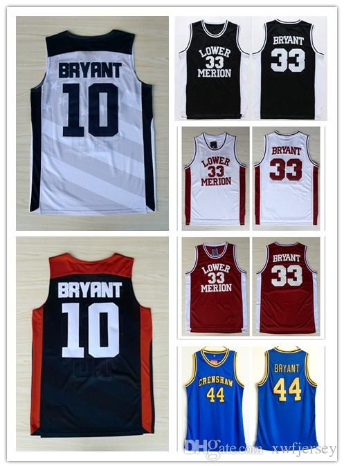 5f2a022a8b8 2019 Kobe Lower Merion College 33 Bryant Jersey 44 Hightower Crenshaw High  School 2012 Olympic Game Dream Team 10 Basketball Jerseys Shirt S 2XL From  ...