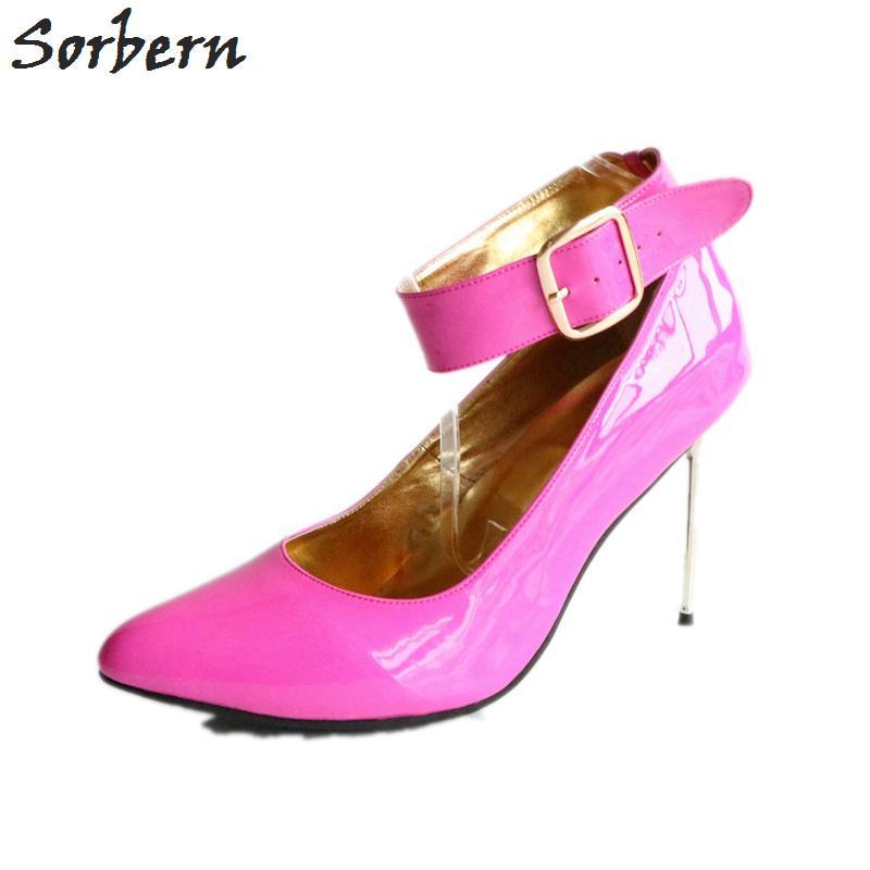 Por Us13 Venta Mujeres Tacones Tamaño Correa Tobillo Zapatos Cm Señoras Al 12 De Acero Stilettos Del Mayor Grande Bombas vyf76gYb