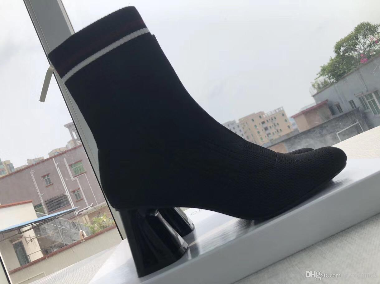 2019 New upgraded version of the sock boots, mid-heeled boots luxury women's Ankle Boots,full packed with box packing