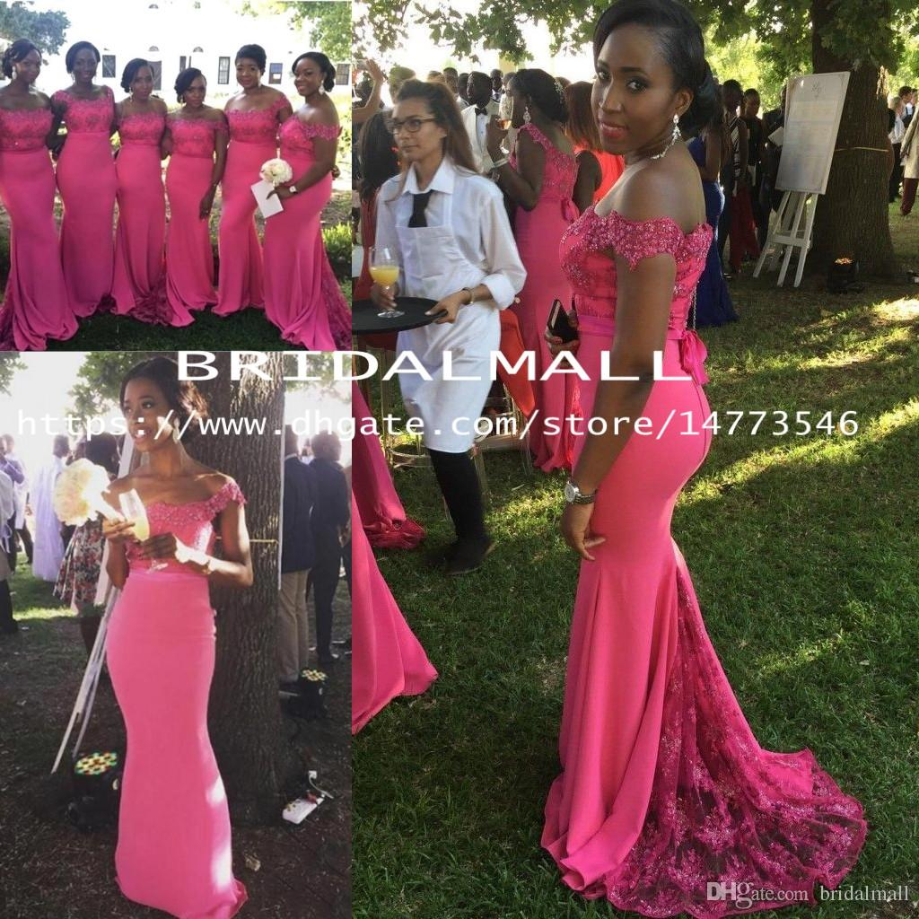 64fc6f43def Fuchsia Mermaid Bridesmaid Dresses Long Lace Appliques Off Shoulder African  Wedding Guest Dress Sequins Plus Size Maid Of Honor Party Gowns Young  Bridesmaid ...