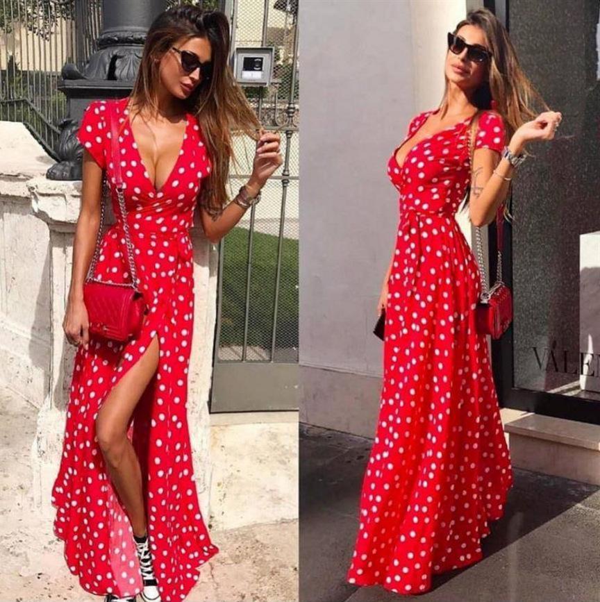 3372514390 Compre Profundo V Pontos Mulheres Vestido De Verão Moda Feminina Laços  Dividir Praia Sexy Vestidos Casuais De Parajumperskith