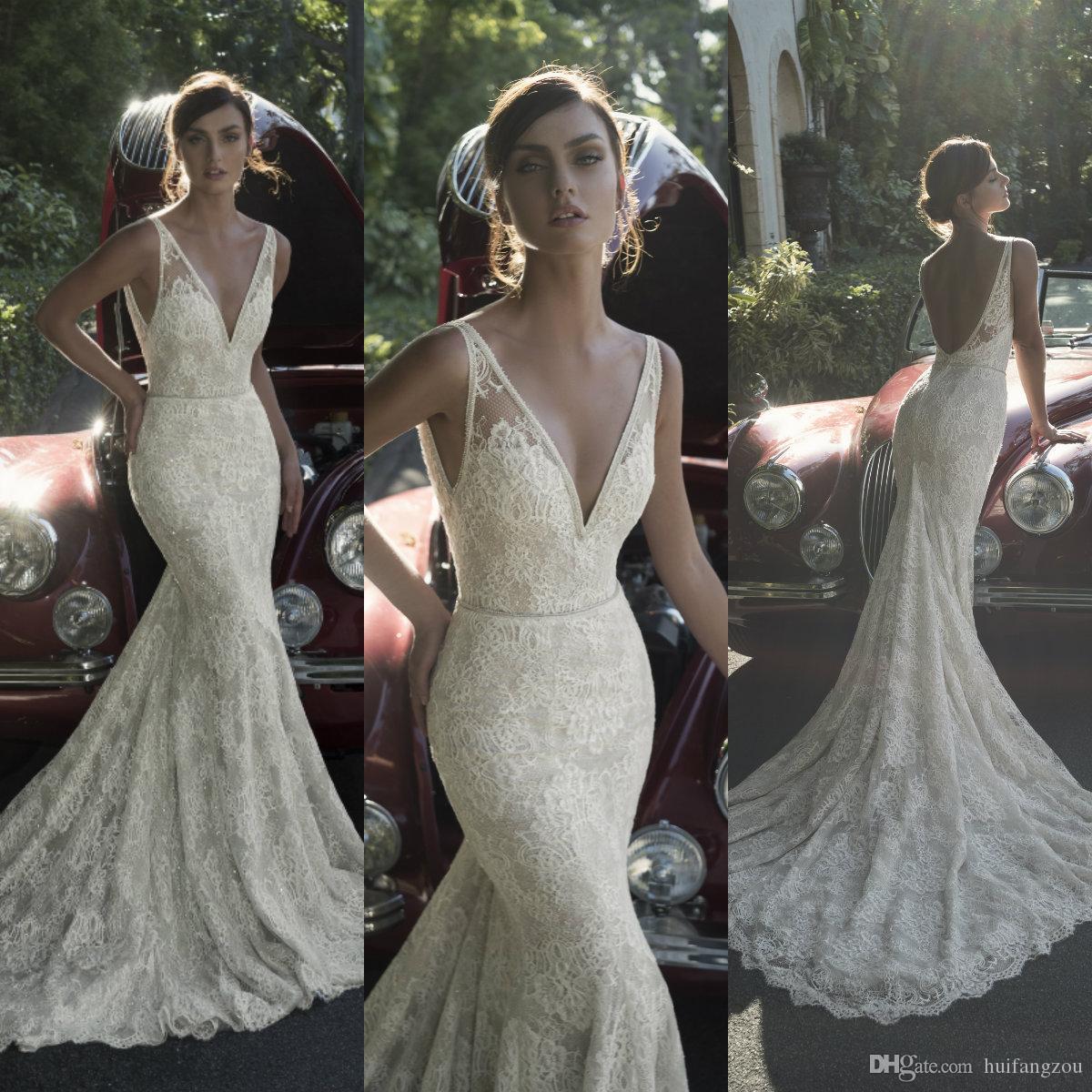 caf7aeb85dd 2019 Designer Mermaid Wedding Dresses Full Lace V Neck Appliques ...