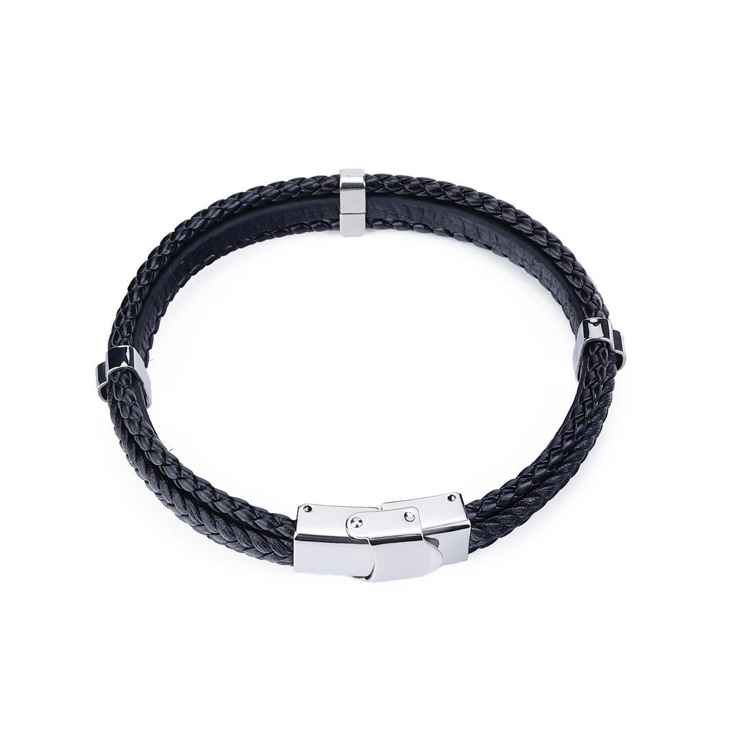 Ourania new style black Woven leather bracelet men's simple silver stainless steel bracelet Luxury jewelry gift Free shipping